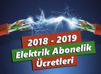 2018 - 2019 Elektrik Abonelik Ücretleri
