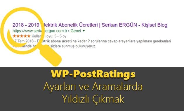 WP-PostRatings Ayarları ve Aramalarda Yıldızlı Çıkmak